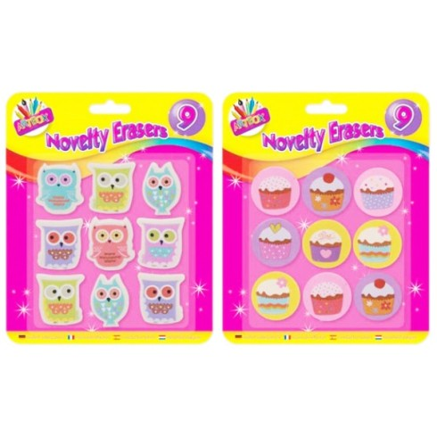 9 NOVELTY ERASERS