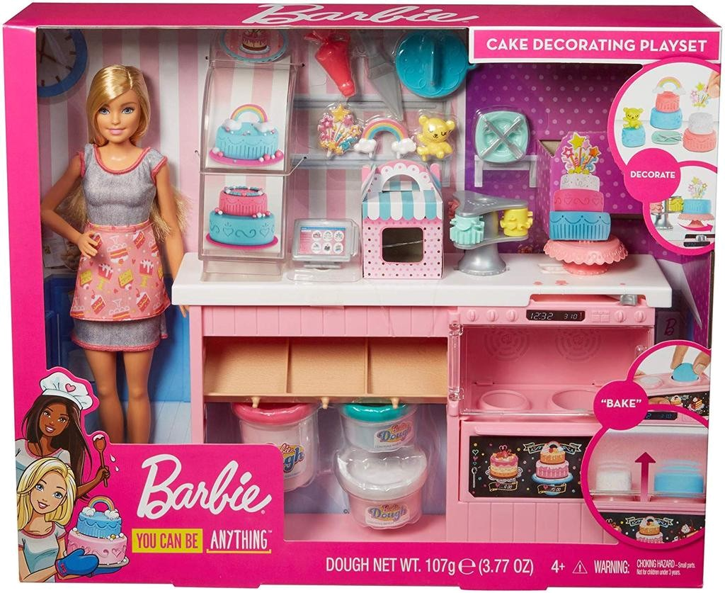 BARBIE DOLL & CAKE DECORATING PLAYSET